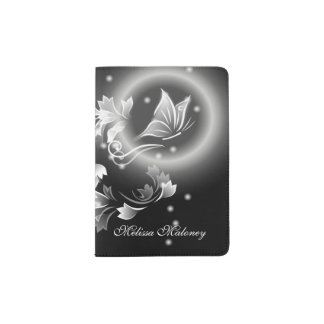 Floral Butterfly Black And White Monogram Passport Holder
