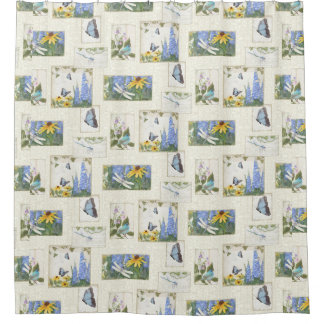 Floral Butterfly Dragonfly n Bird Daisy Delphinium Shower Curtain