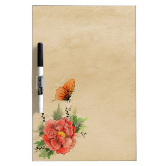 Floral butterfly dry erase board