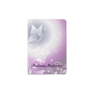 Floral Butterfly Fantasy Purple Passport Holder