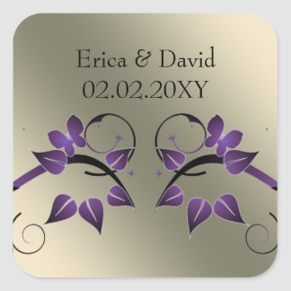 floral butterfly ivory purple envelopes seals square sticker