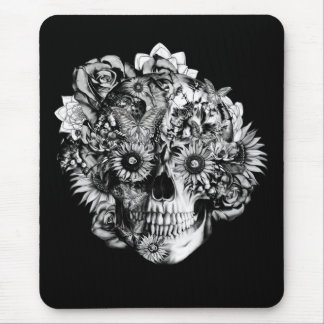 Floral Butterfly Ohm skull illustration in black Mouse Mat