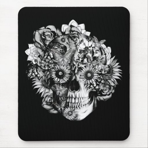 Floral Butterfly Ohm skull illustration in black Mousepad