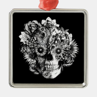 Floral Butterfly Ohm skull illustration in black Silver-Colored Square Decoration