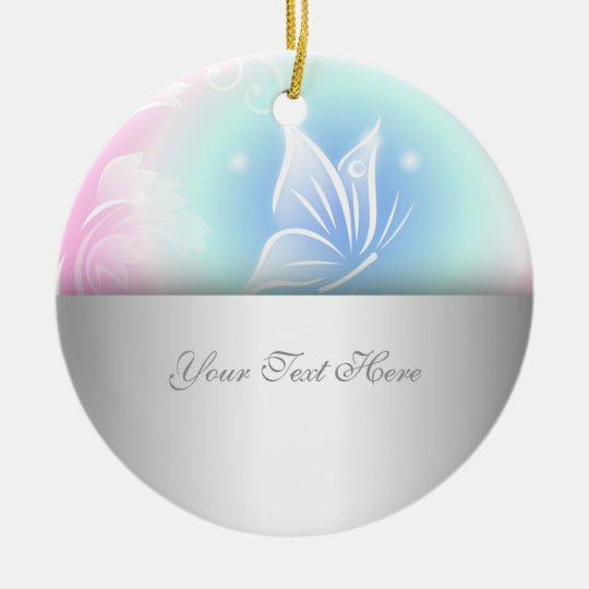 Floral Butterfly Pink Personalise Christmas Ornament