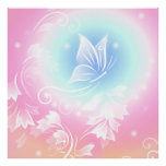 Floral Butterfly Pink Poster