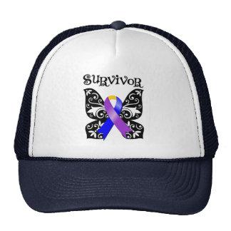 Floral Butterfly Ribbon - Bladder Cancer Survivor Hats