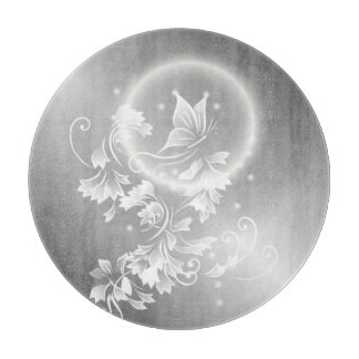 Floral Butterfly Silver Cutting Board
