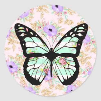 Floral Buttterfly in Teal, Purple and pink Sticker