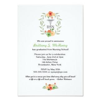 Floral caduceus Nurse pinning graduation BSN RN 13 Cm X 18 Cm Invitation Card