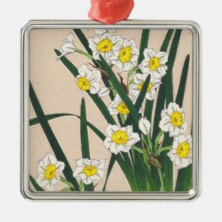 Floral Calander of Japan Kawarazaki Shodo japan Silver-Colored Square Decoration
