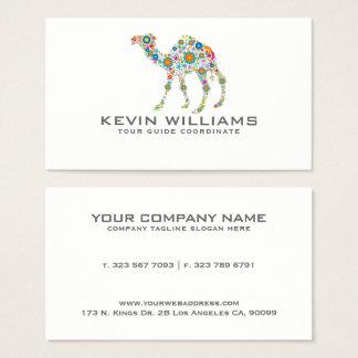 Floral Camel Illustration Tour Guide Business Card