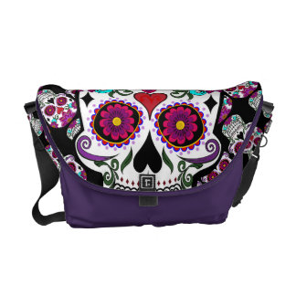 Floral candy skull courier bag