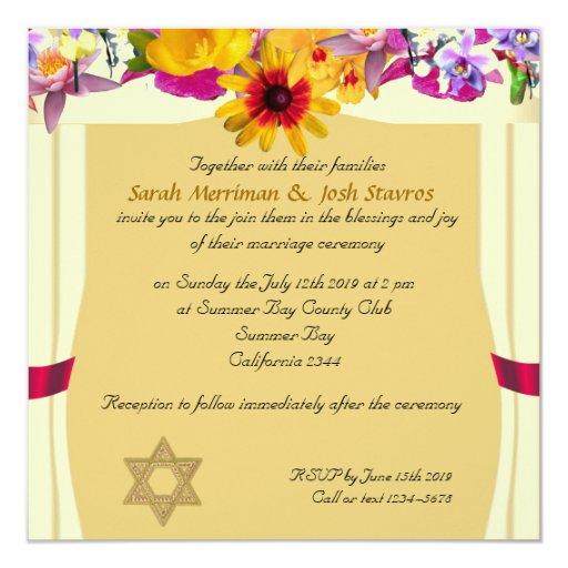 Jewish Wedding Gift Ideas Uk : Floral canopy jewish wedding 13 cm 13 cm square invitation card ...