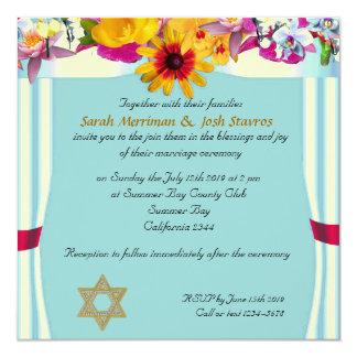 Floral canopy jewish wedding personalised invitation
