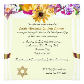 Floral canopy jewish wedding custom invite