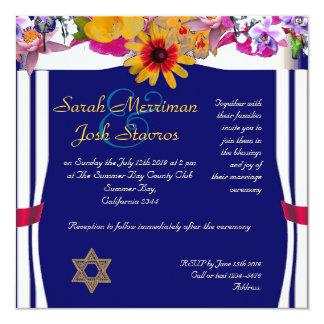 Floral canopy  jewish wedding invitations