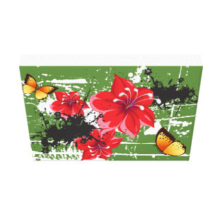 Floral Canvas 11 x 14 inch with butterfly, Artwork