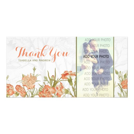 Floral carnation wedding thank you photo cards