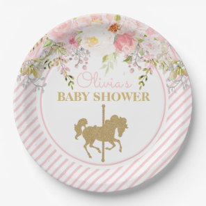 Floral Carousel Merry Go Round Baby Shower Paper Plate