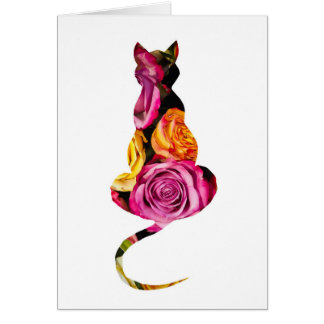 Floral Cat Birthday Card