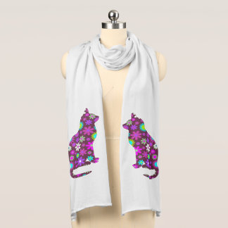 Floral Cats Jersey Scarf