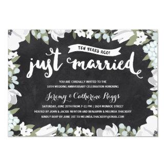 Floral Chalkboard   10th Wedding Anniversary 13 Cm X 18 Cm Invitation Card