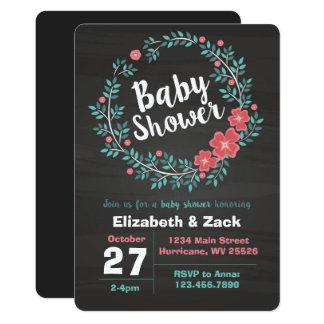 Floral Chalkboard Baby Shower Invitation
