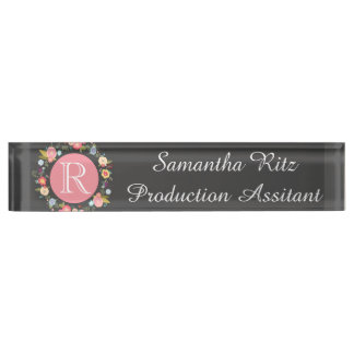 Floral Chalkboard nameplate