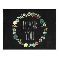 Floral Chalkboard Thank You Postcard