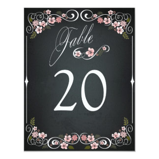 Floral Chalkboard Vintage Bold Wedding Table Card