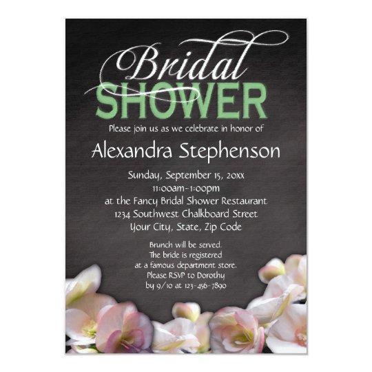 Floral & Chalkboard w/Green Bridal Shower Card