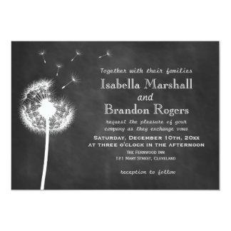 Floral Chalkboard Wedding Invite (white)