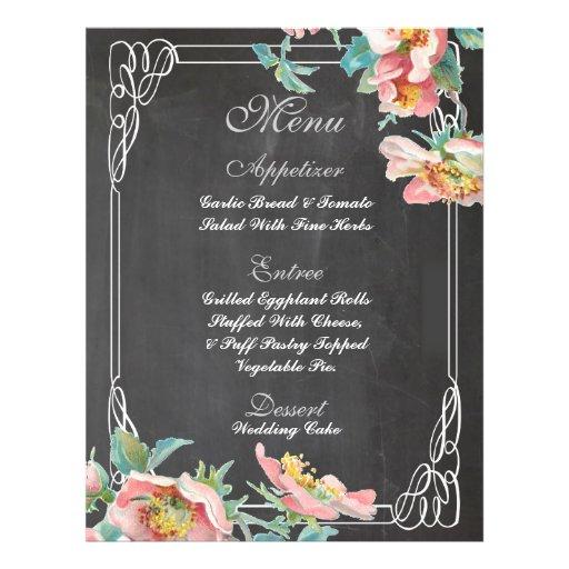 floral chalkboard wedding menu personalized flyer