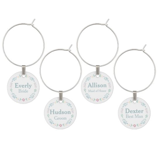 Floral Chalkboard Wedding Party Special Occasion Wine Glass Charm