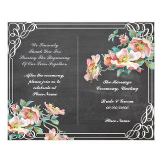 floral chalkboard wedding program 11.5 cm x 14 cm flyer