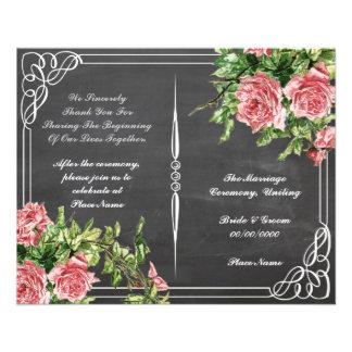 floral chalkboard wedding program flyer