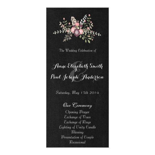 Floral & Chalkboard wedding program VI Rack Card