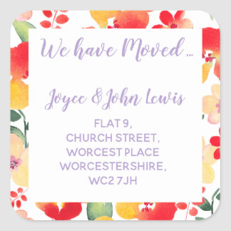 FLORAL Change of Address Stickers