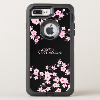 Floral Cherry Blossom Black Pink Monogram OtterBox Defender iPhone 8 Plus/7 Plus Case