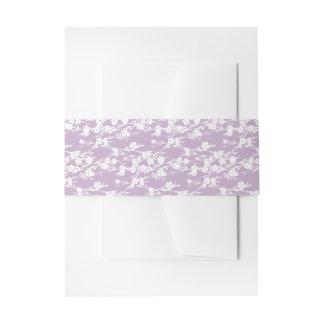 Floral Cherry Blossom Lavender Embellishment Invitation Belly Band
