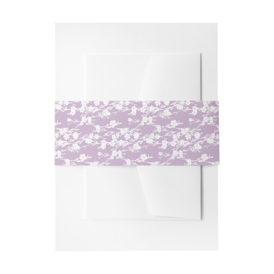 Floral Cherry Blossom Lavender Embellishment Invitation Belly Band