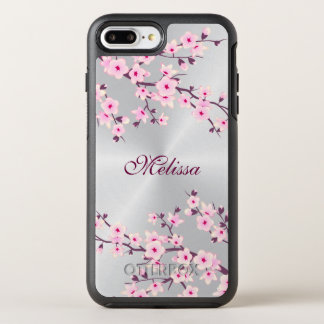 Floral Cherry Blossom Silver Pink Monogram OtterBox Symmetry iPhone 8 Plus/7 Plus Case