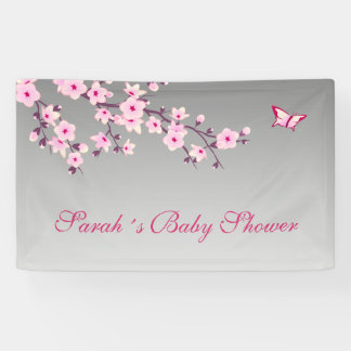 Floral Cherry Blossoms Baby Shower Banner