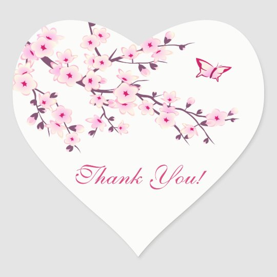 Floral Cherry Blossoms Baby Shower Heart Sticker