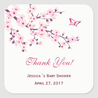 Floral Cherry Blossoms  Baby Shower Square Sticker