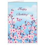 Floral Cherry Blossoms Birthday Greeting Card