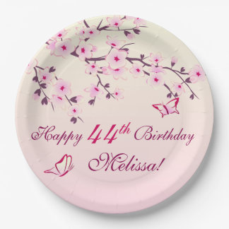 Floral Cherry Blossoms  Birthday Party Paper Plate