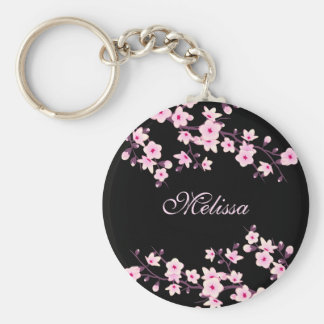 Floral Cherry Blossoms Black Pink Basic Round Button Key Ring