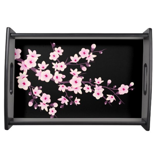 Floral Cherry Blossoms Black Pink Serving Tray